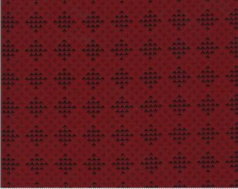 Redwork Gatherings Dark Red 49116 16 by Primitive Gatherings for moda fabrics