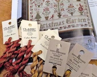 Christmas Garden by Blackbird Designs...cross-stitch book and threads