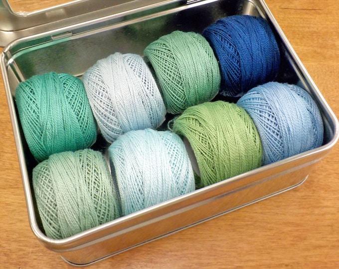 Ocean Mist thread box...featuring 8 DMC perle cotton balls...no 8
