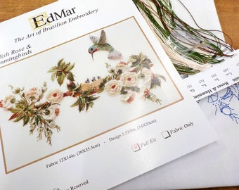 English Rose & Hummingbirds...EdMar 1606 project...Brazilian embroidery kit...diy embroidery kit