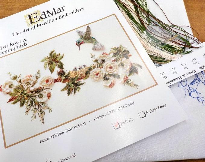 English Rose & Hummingbirds...EdMar 1606 project...Brazilian embroidery kit...diy embroidery kit