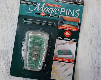 Magic Pins, Taylor Seville Originals...EXTRA-FINE patchwork pins, fine, .4mm x 36mm, 50 pins, comfort grip, heat resistant, storage case