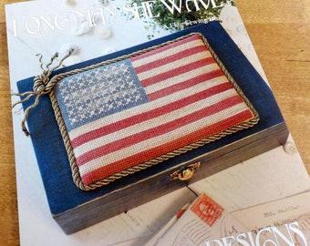 Long May She Wave-Sewing Box by Blackbird Designs...cross stitch pattern, cross stitch