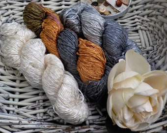 Autumn Fog...3 skein bundle...Araucania Yarns...Alumco...Hand-painted Cotton Viscose Blend