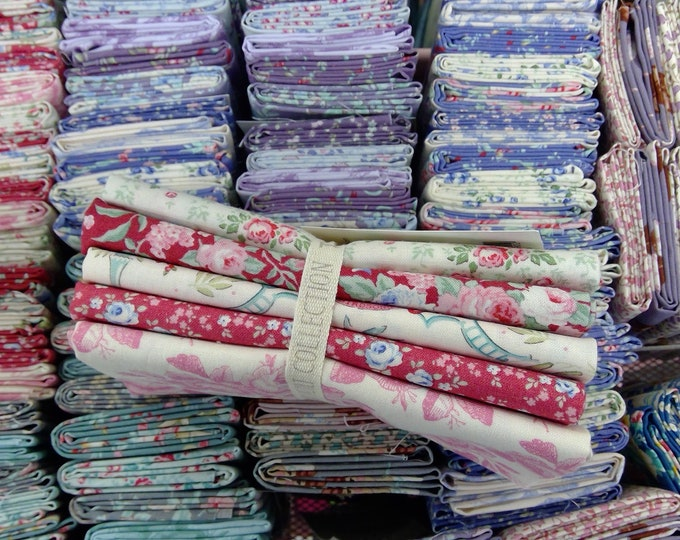 Old Rose pink and raspberry...5 fat quarters...a Tilda Collection designed by Tone Finnanger