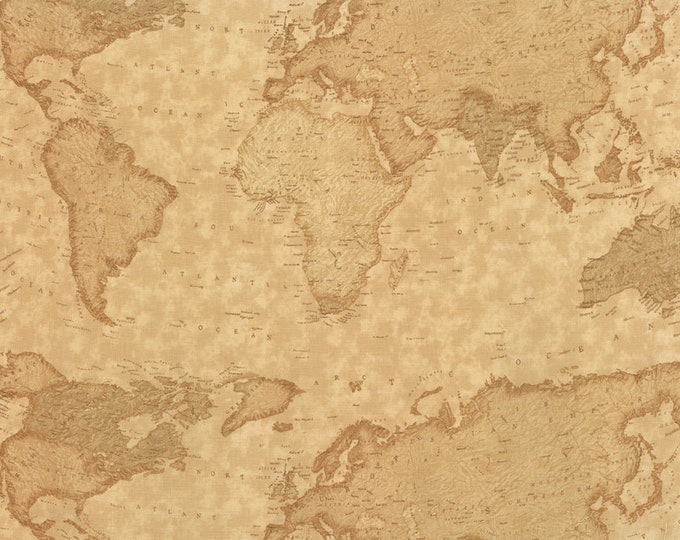 Passport World Map Sand 3929 16 by 3 Sisters for moda fabrics