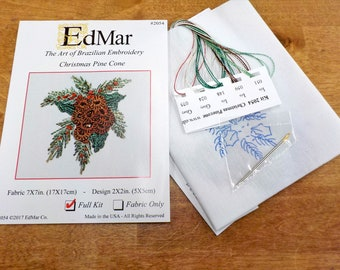 Christmas Pine Cone #2054...EdMar kit...Brazilian embroidery...christmas kit...christmas embroidery