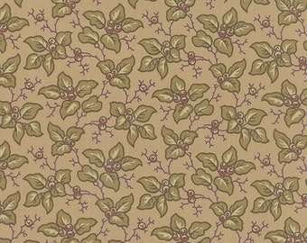 Mill Book 1892 parchment leaves and berries by Howard Marcus for moda fabrics