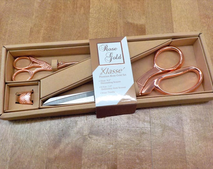 Rose Gold scissors and thimble...dressmakers scissors, stork scissors, closed thimble, sharp