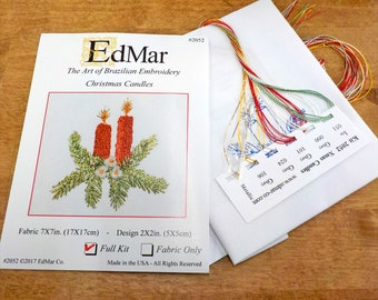 Christmas Candles #2052...EdMar kit...Brazilian embroidery...christmas kit...christmas embroidery