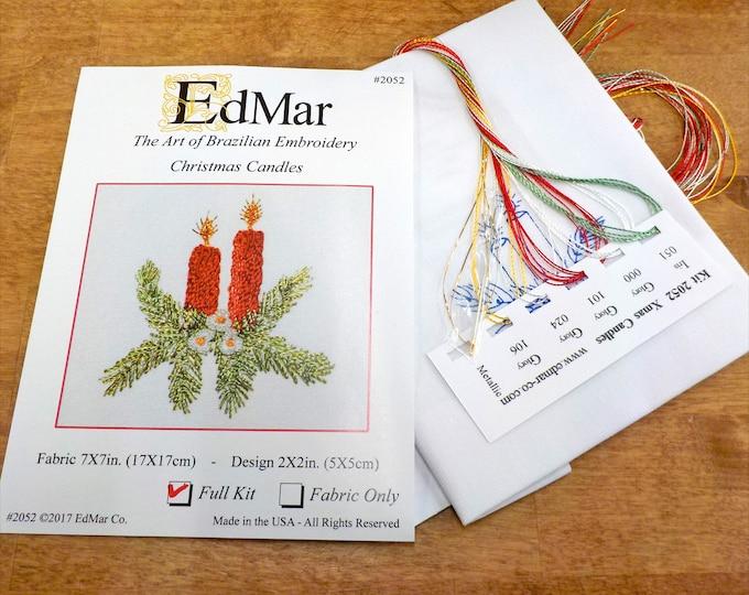 Christmas Candles #2052...EdMar kit...Brazilian embroidery...christmas kit...christmas embroidery