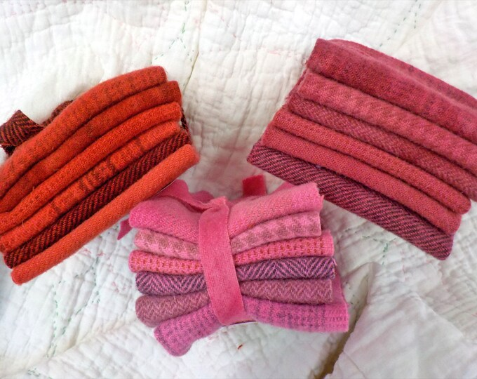Wool 6-Pack...6 coordinating wools approximately 6 1/2 x 7 1/2 inches...3 red/pink options