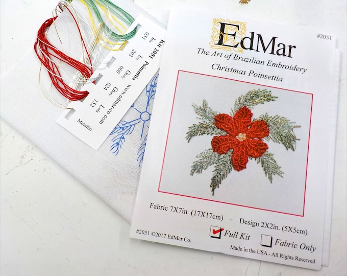 Christmas Poinsettia #2051...EdMar kit...Brazilian embroidery