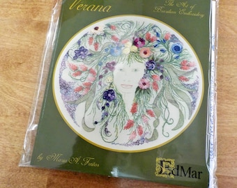 Verana designed by Maria A. Freitas #1602...EdMar kit...Brazilian embroidery...complete kit...threads, book, printed fabric