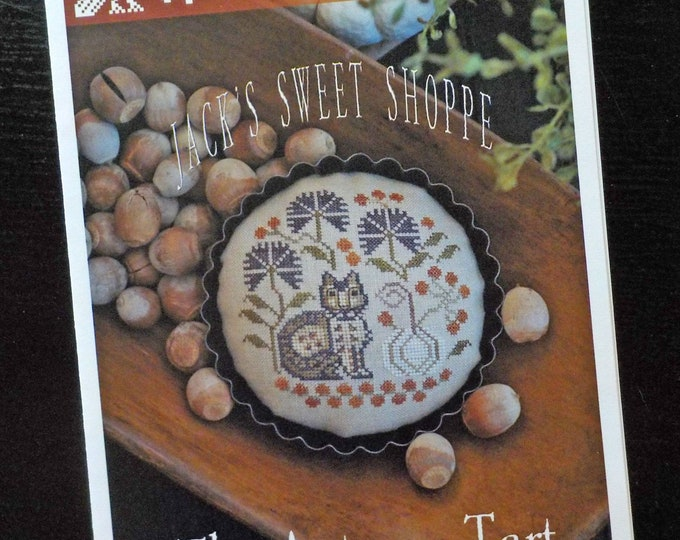 The Autumn Tart, Jack's Sweet Shoppe, by Plum Street Samplers...cross stitch pattern, Halloween cross stitch, autumn cross stitch