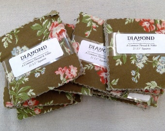 A Common Thread & Nikko...charm pack...3 1/2 inch squares...21 squares...Diamond Textile Wovens