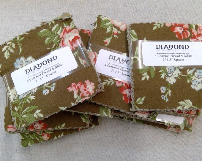A Common Thread & Nikko...charm pack...3 1/2 inch squares...21 squares...Diamond Textile Wovens