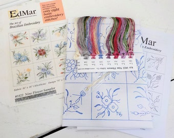 A Nine Flower Sampler...EdMar kit #1822...kit complete with instructions, preprinted thread and