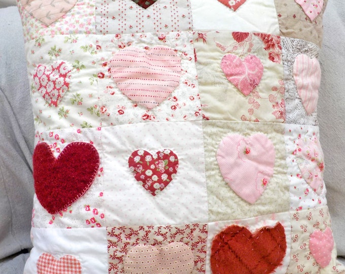 Cottage Hearts pillow kit...Valentine's Day pillow, cottage style pillow, DIY kit