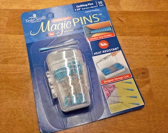 Magic Pins, Taylor Seville Originals...quilting pins, .6mm x 48mm, 50 pins, comfort grip, heat resistant, designer storage case