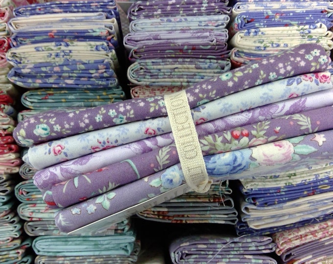 Old Rose lilac and lavender...5 fat quarters...a Tilda Collection designed by Tone Finnanger