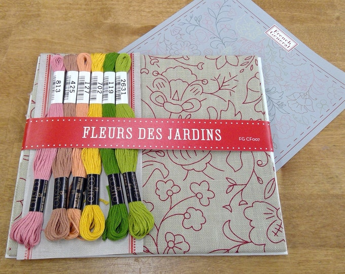 Fleurs Des Jardins embroidery kit featuring Chafarcani Linen and Cosmo floss designed  by French General for Moda Fabrics