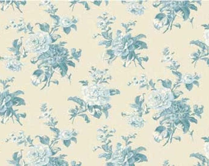 Mrs. Miniver, blue flower on beige, designed by Red Rooster Studio