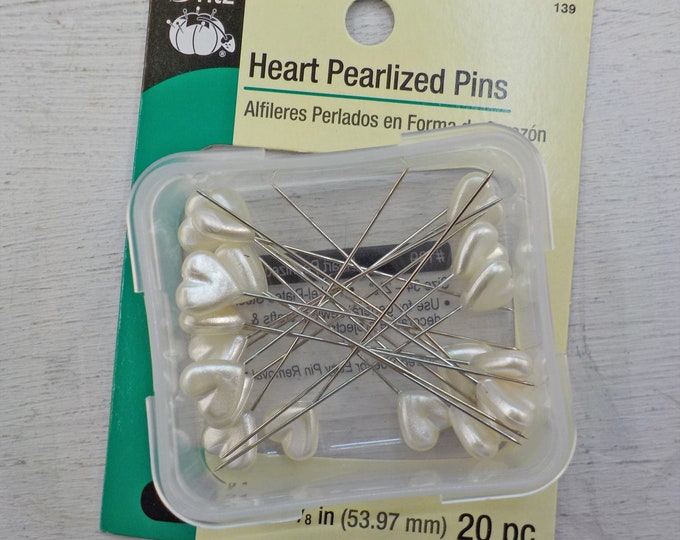 Dritz Heart Pearlized Pins...20 pins, size 34--2 1/8 inch