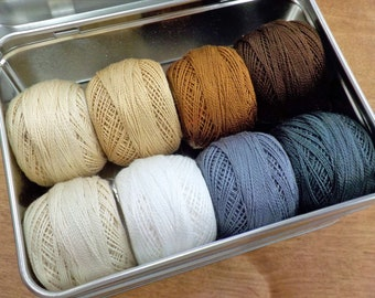 Neutrals thread box...featuring 8 DMC perle cotton balls...no 8