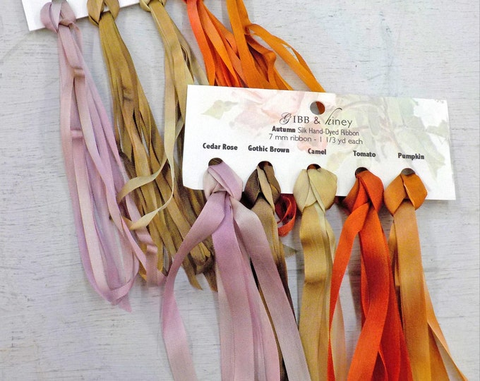Autumn ribbon set...Gibb & Hiney, hand-dyed silk ribbon, 5 colors, 2 widths