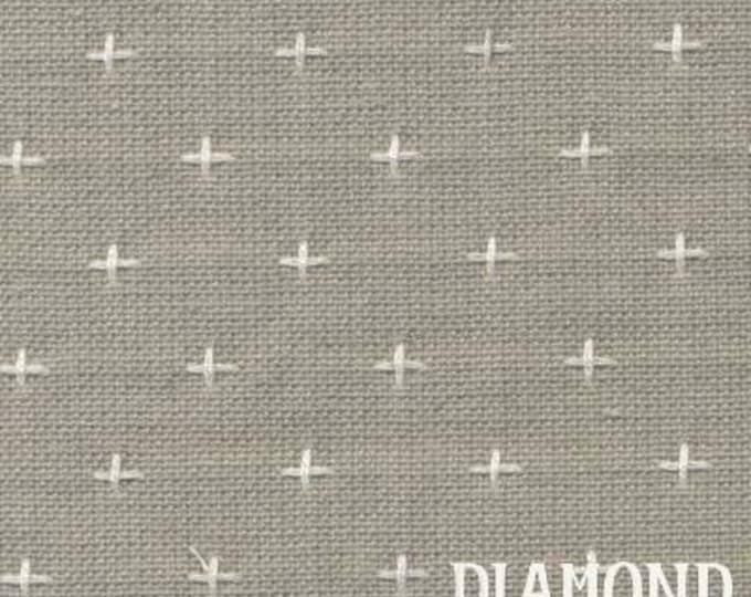 Primitive Collection PRF711, gray with white cross stitches, by Diamond Textiles