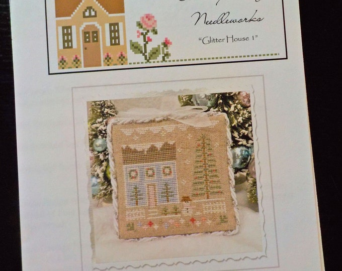 Glitter Village, Glitter House 1, by Country Cottage Needleworks, Glitter Village Collection, Christmas Cross Stitch, Christmas DIY