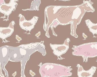 Tiny Farm Farm Animals Brown TIL110010-V11...a Tilda Collection designed by Tone Finnanger