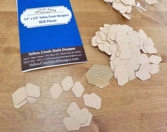 Yellow Creek Hexagon papers and template...1/4 x 5/8 inch hex papers...1656 pieces, laser cut