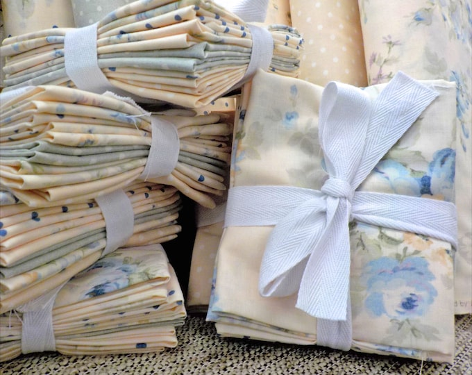 Blue Durham by Lecien Fabrics...6 fat quarters...pastel, soft floral, bundle, exclusive bundle