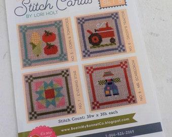 Bee in My Bonnet Stitch Cards, Set B by Lori Holt of Bee in My Bonnet, cross stitch pattern, it's sew emma stitchery