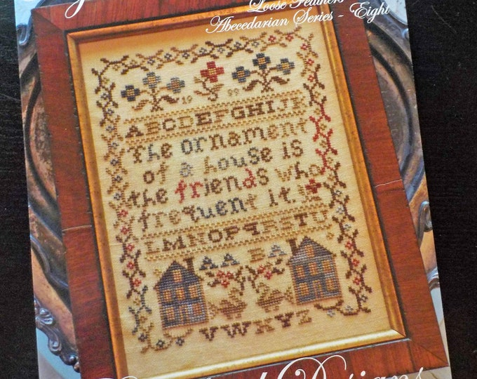 My Friend's House, Loose Feathers Abecedarian series pattern 8 by Blackbird Designs...cross-stitch design