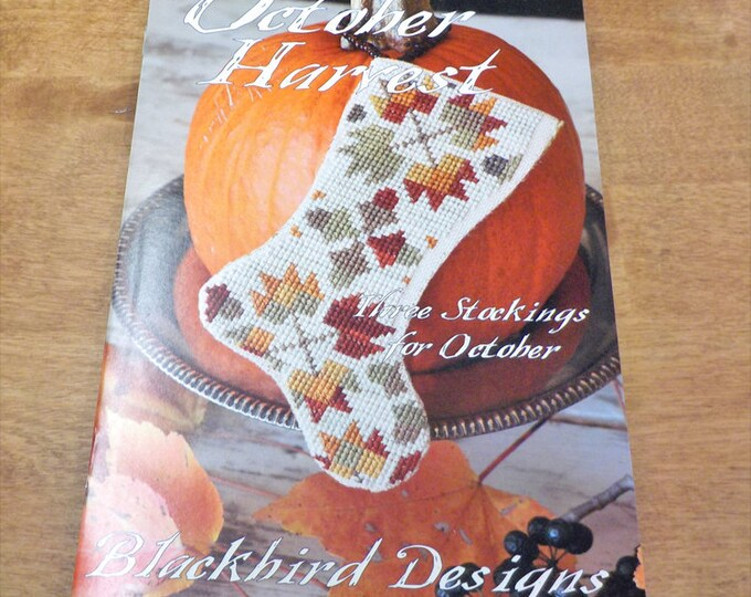 October Harvest, 3 Stockings for October, by Blackbird Designs...cross-stitch design
