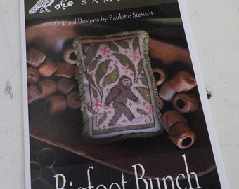Bigfoot Bunch by Plum Street Samplers...cross stitch pattern, Bigfoot cross stitch