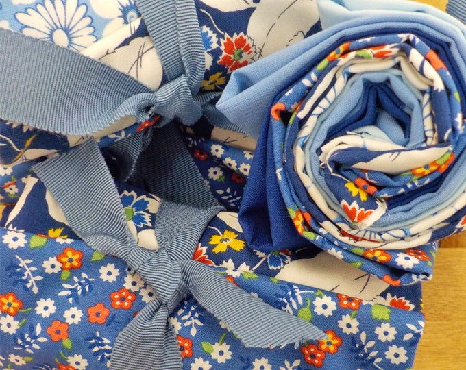 Denim...6 Feed Sacks True Blue and solids fat quarters... by Linzee Kull McCray for Moda Fabrics