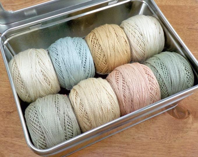 Pale Tones thread box...featuring 8 DMC perle cotton balls...no 8