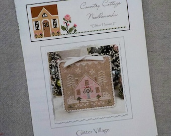 Glitter Village, Glitter House 2, by Country Cottage Needleworks, Glitter Village Collection, Christmas Cross Stitch, Christmas DIY