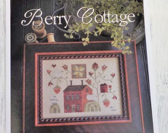 Berry Cottage by Plum Street Samplers...cross stitch pattern, house cross stitch
