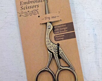 Stork Embroidery scissors...embroidery scissors, thread snips, sharp, klasse