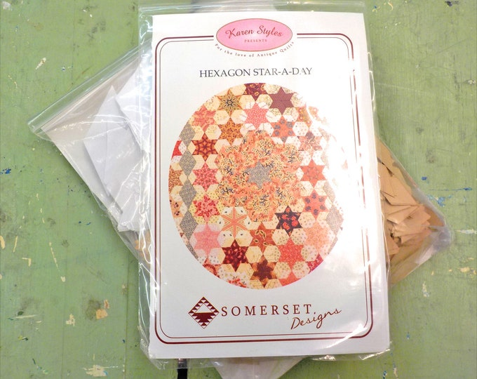 Hexagon Star-A-Day by Karen Styles of Somerset Designs...pattern, acrylic templates, and complete paper piece pack