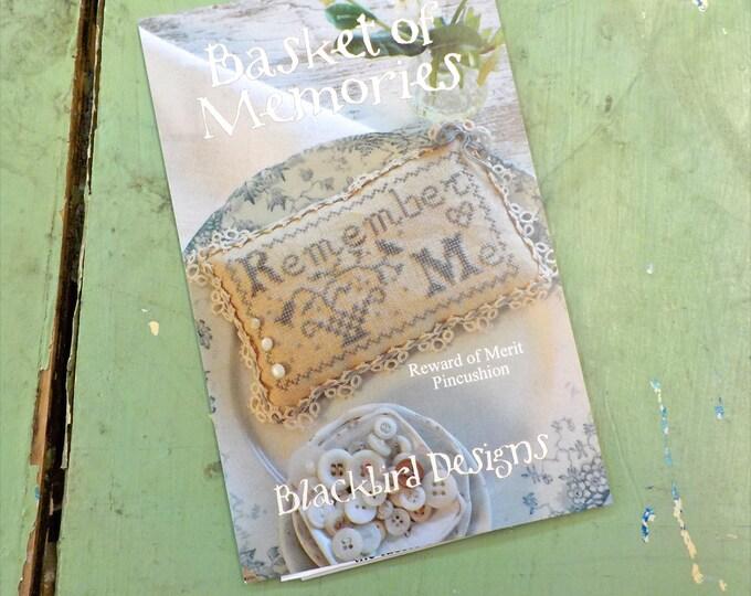 Basket of Memories, Reward of Merit Pincushion, by Blackbird Designs...cross stitch pattern, cross stitch