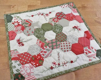 Candy and Hexies Christmas Edition...kit complete with 1 inch hex papers and threads...pattern designed by Mickey Zimmer