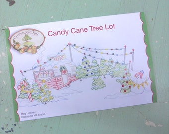 Candy Cane Tree Lot by Meg Hawkey of Crabapple Hill Studio