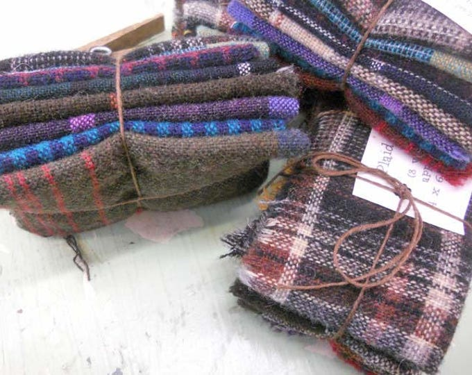 Plaid Shirts...wool bundle...8 pieces measuring approximately 4 x 6 inches