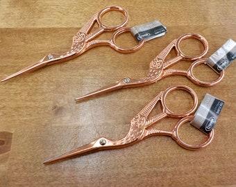 Rose Gold Stork scissors...embroidery scissors, thread snips, sharp